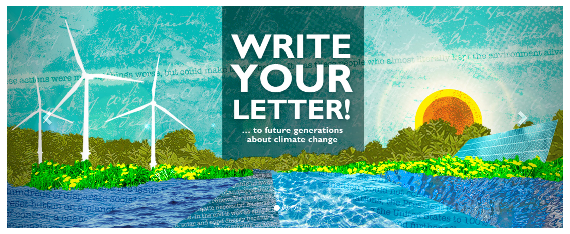 Echoing the mission of this section,people are engaging into intergenerational politics in epistolary form. Add your voice! Write a letter to the future and it will be delivered at the Paris climate talks.