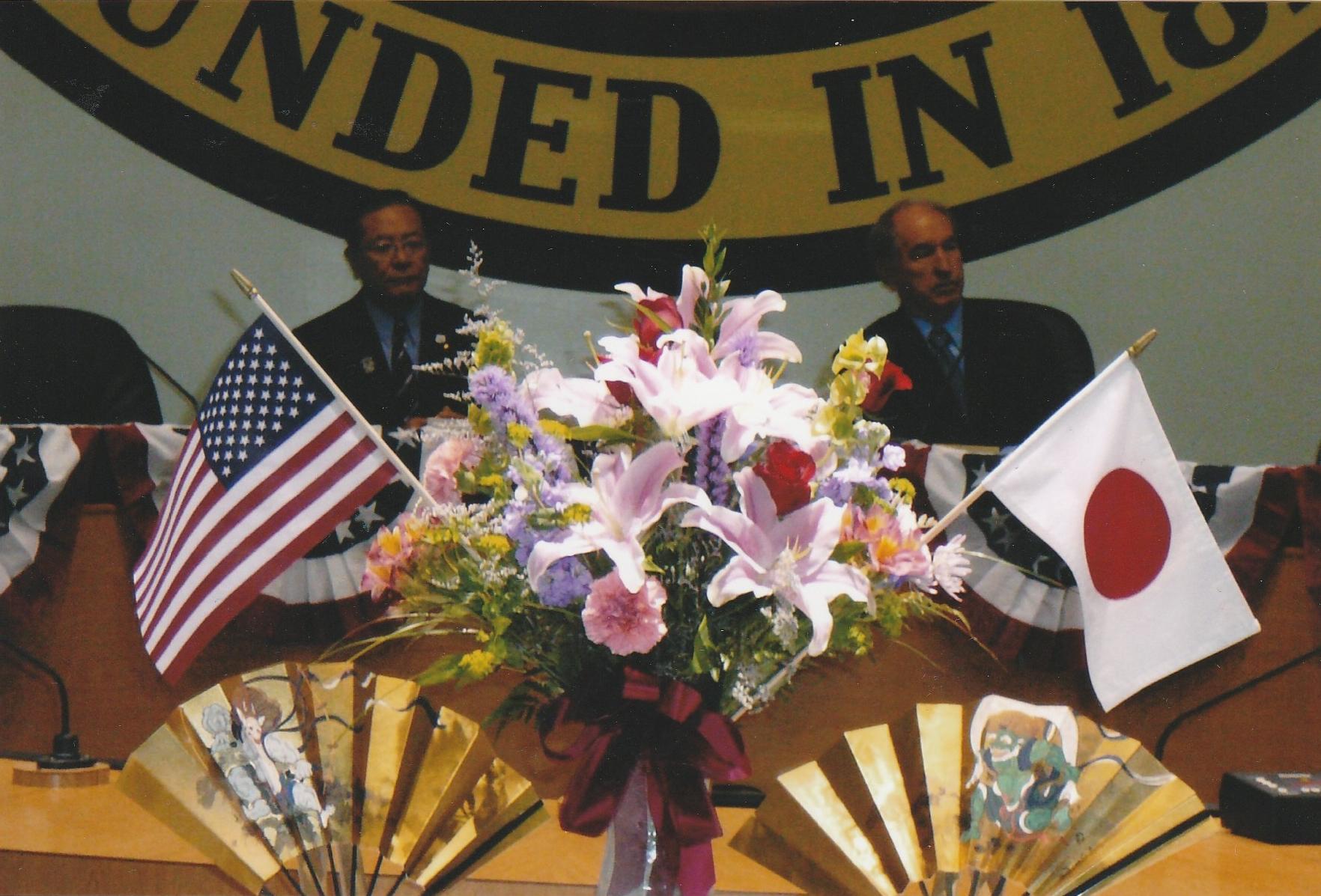 Mayor Shohei Shimizu and Mayor Patrick Morris in 2009, celebrating the 50th anniversary.