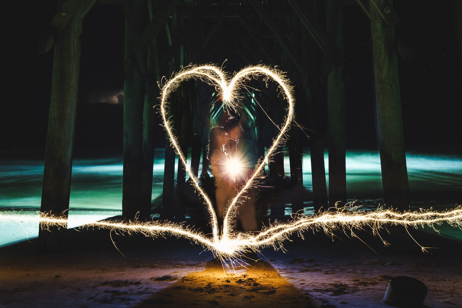 Amazing Light Painting for Couple Beach Photos by South Florida Photographer Humberto Garcia on Sony A7II and Sony 35mm 1.4