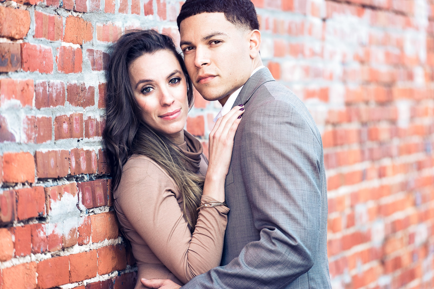 Engagement couple's portrait in filmic look