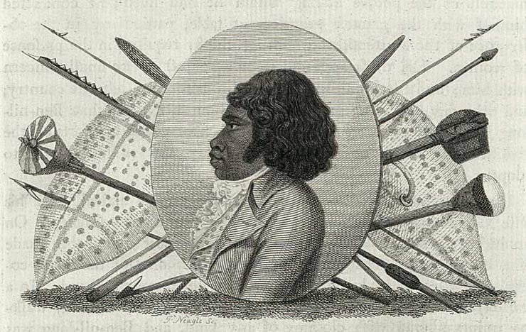 This is an engraving made by James Neagle in England in 1798. It features an oval portrait of Bennelong wearing a ruffled shirt, waistcoat and frockcoat. A number of Indigenous Australian weapons are depicted in a formal arrangement behind the portrait; these include two shields, a woomera (spear thrower), a hafted axe and various types of spears.