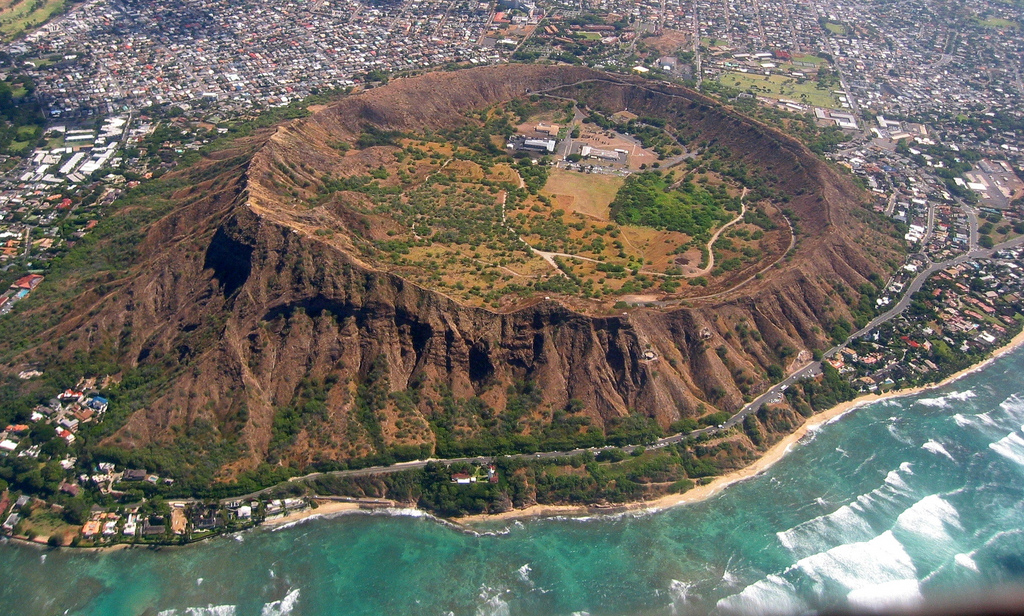The 100,000 year old Diamond Head crater on Oahu.