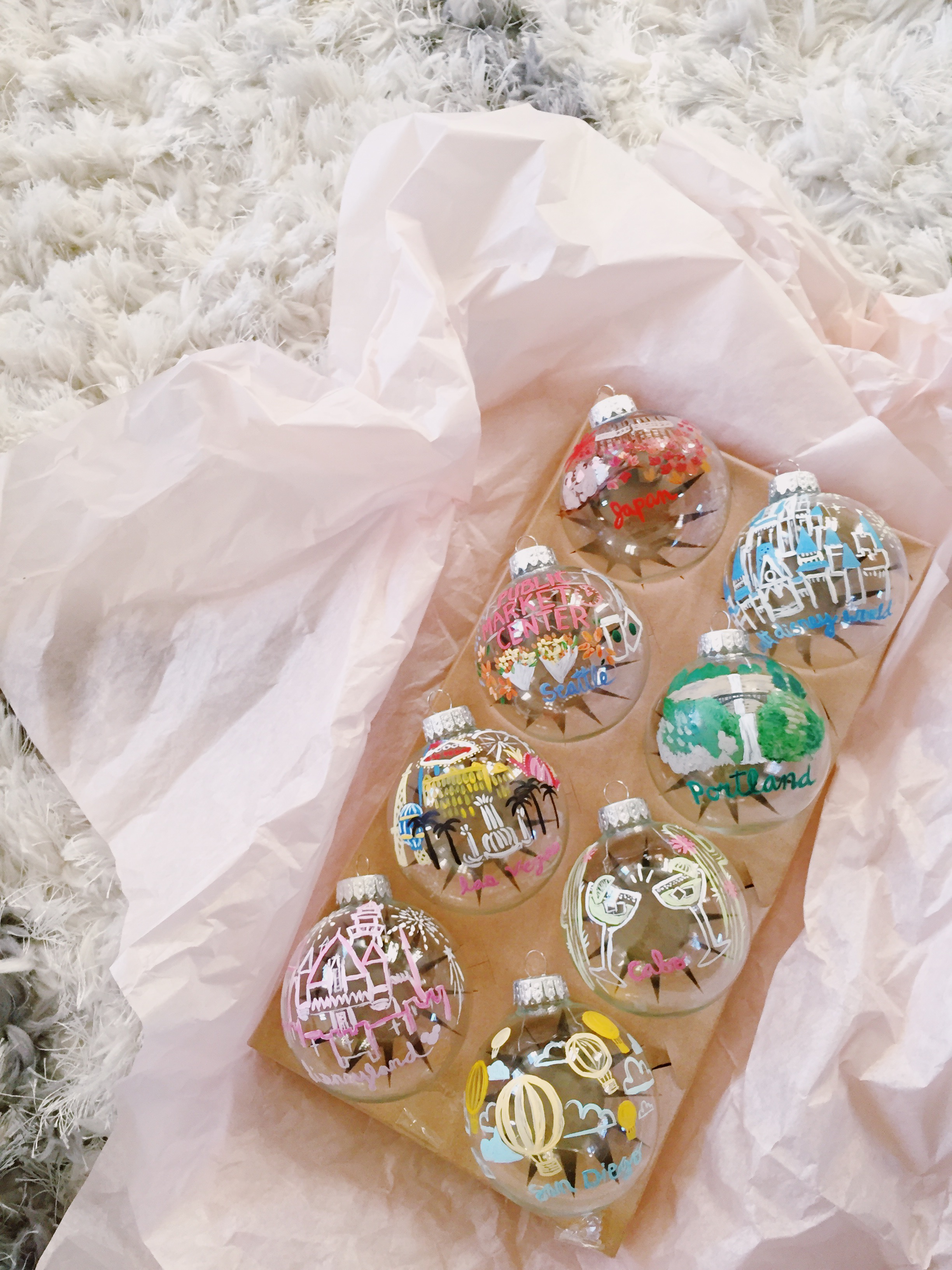 hand-painted destination christmas ornaments