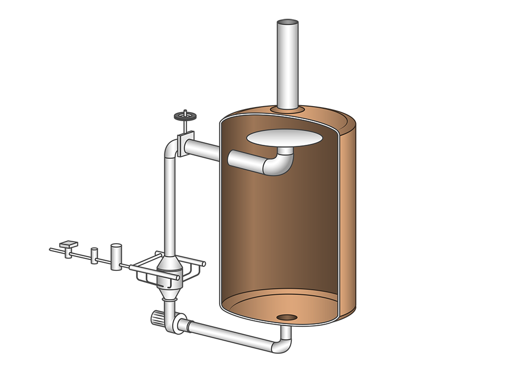 The Steam Infusion Wort Heater is fitted on a recirculation loop from the copper.