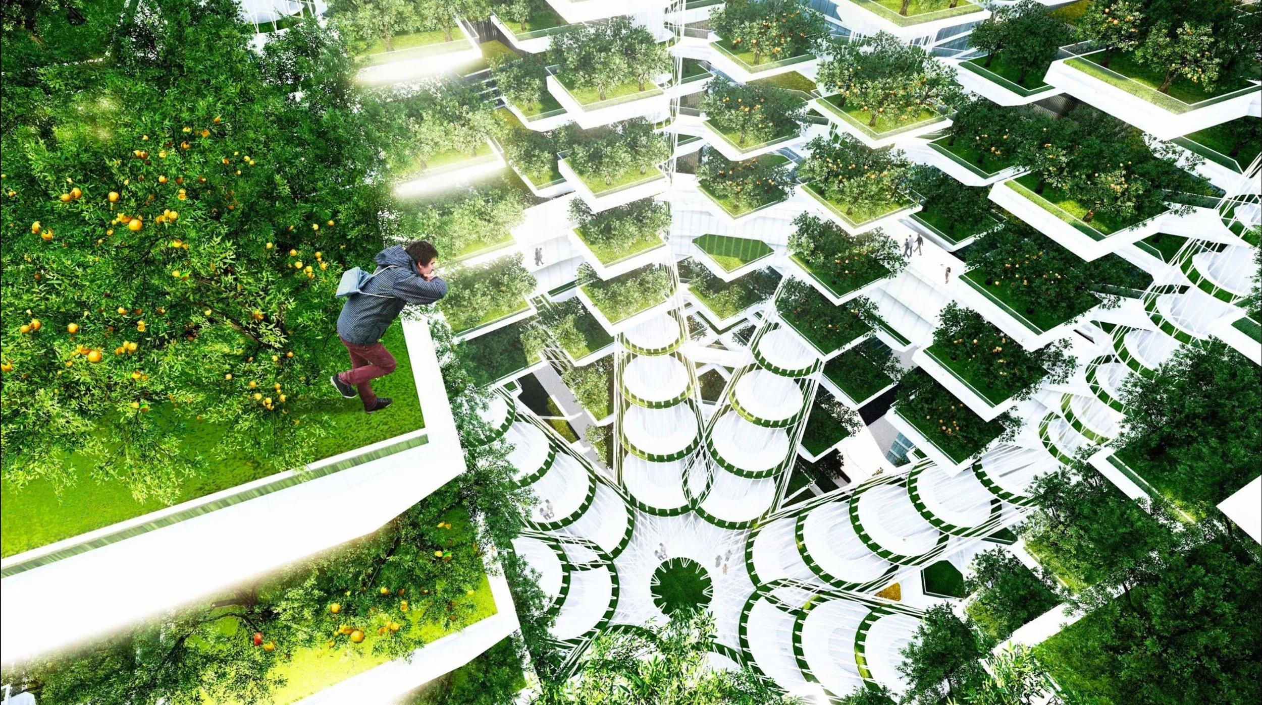 The  Urban Skyfarm  by Aprilli Design Studio,  a vertical farm design proposal for a site located in downtown Seoul.