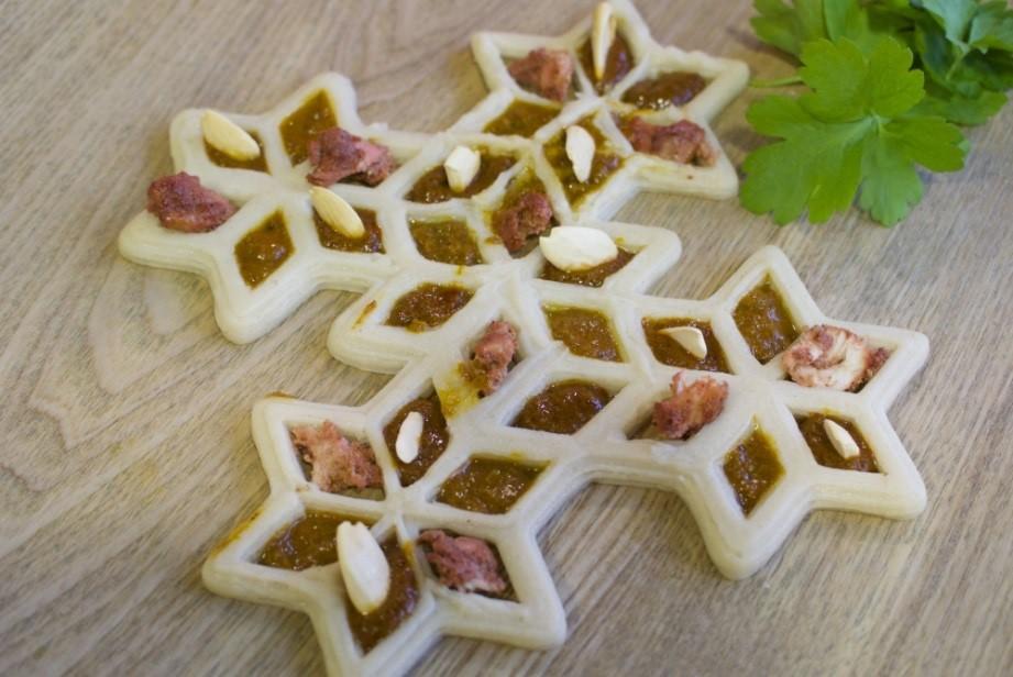 'Designer curry sampler' 3D printed with Natural Machines' Foodini