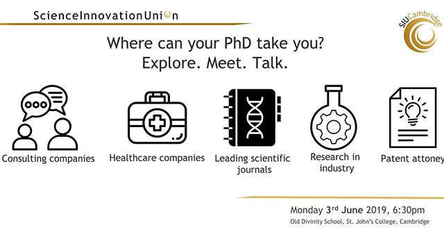 Come and join Science Innovation Union Cambridge for our next upcoming event on the 3rd of June! We have partnered with representatives from a range of sectors including industry, consulting, and publishing - to provide an opportunity for students and postdocs to make connections, ask questions in small groups, and explore potential opportunities for future careers. Sign up on our Eventbrite page and share with your friends and colleagues! https://www.eventbrite.co.uk/e/where-can-your-phd-take-you-meet-explore-talk-tickets-61959187598