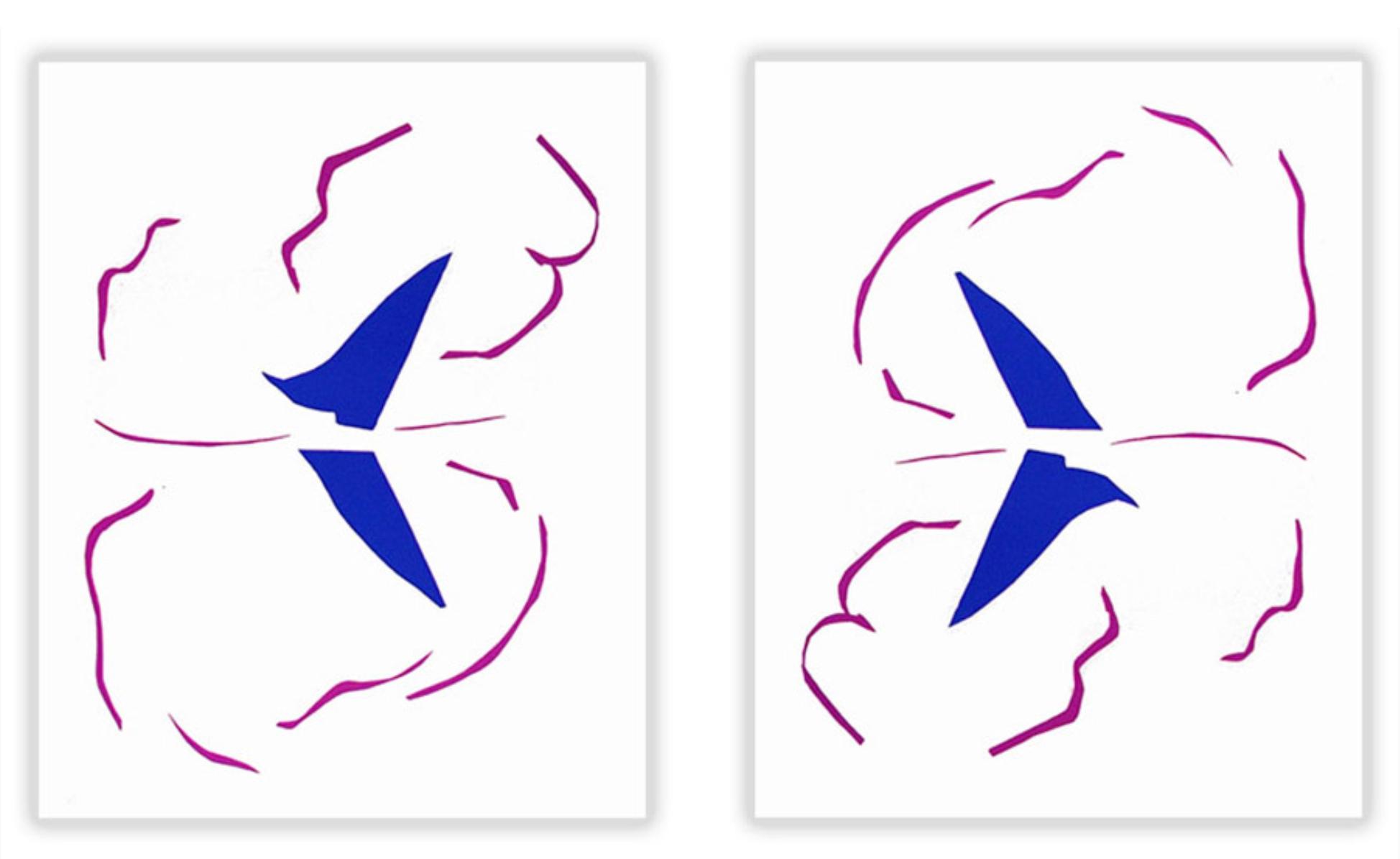 Le Bateau  gan Henri Matisse.  Ar y chwith fel y bwriadwyd y llun i fod gan yr arlunydd.