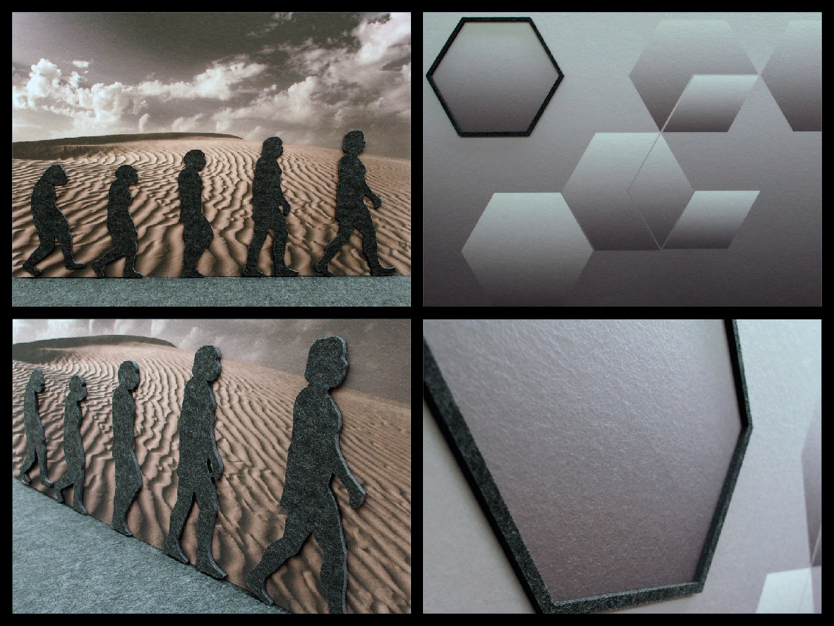 Images printed to white acoustic panels with relief shapes cut from solid charcoal panels