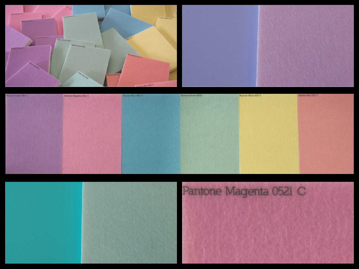 Pastel colours printed to white acoustic panels and matched to the Perspex® Pastels range!