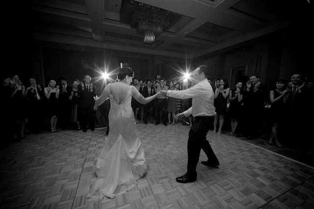 wedding dance floor, bride and groom