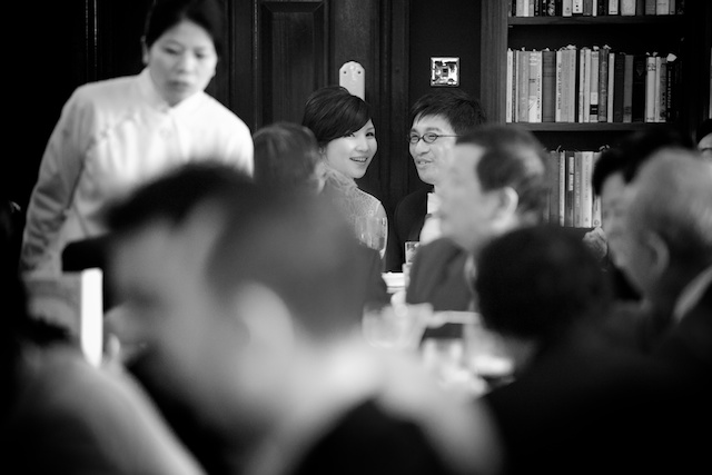 Chinese wedding couple at Hong Kong banquet