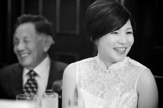 Bride and father at China Club wedding banquet