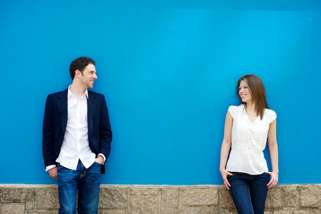 Engagement couple in front of blue wall in Central Mid-levels, Hong Kong