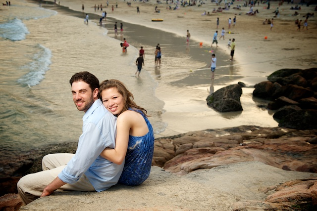 Western-style engagement photos at Shek O Beach