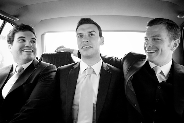 Groomsmen take taxi to Hong Kong wedding