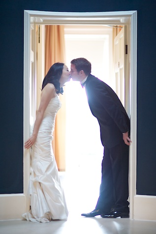london wedding japanese bride german formal portrait doorway kissing