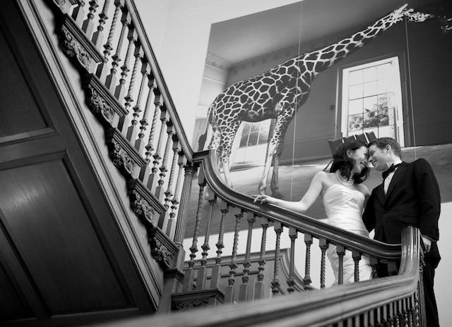 london wedding japanese bride german groom formal portrait staircase