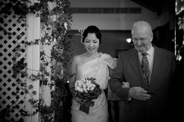 Hong Kong wedding bride father black white aisle walking hullett house