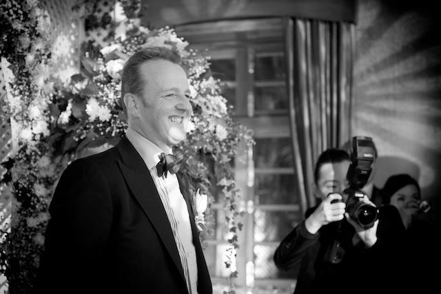 Hong Kong wedding groom alter black white hullett house