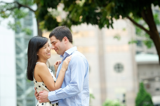 Hong-Kong-Engagement-Session-Outdoor-Statue-Square-Central-Bride-and-Groom-Smiling