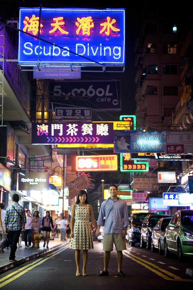 Hong-Kong-Engagement-Session-Outdoor-Portrait-Tsim-Sha-Tsui-Bride-and-Groom-Street-Night