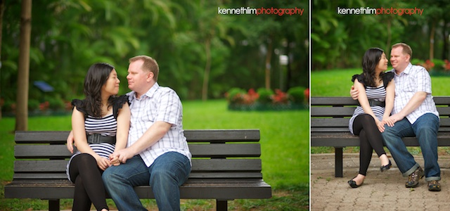 Hong-Kong-engagement-session-portraits-couple-park-sitting-bench-outdoor-groom-bride-smiling