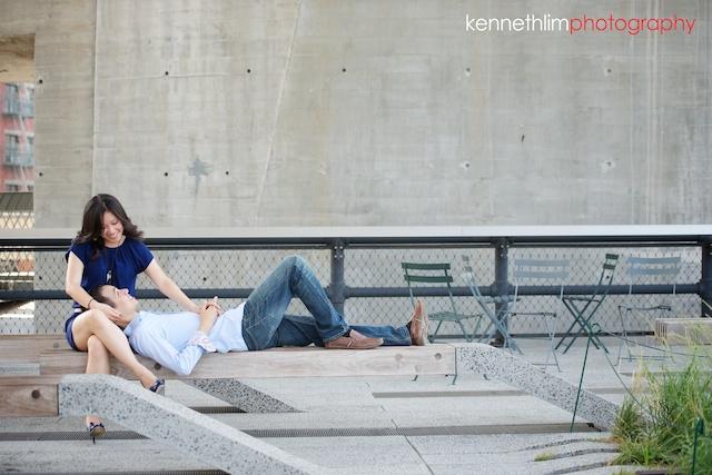 New York engagement photoshoot couple under bridge