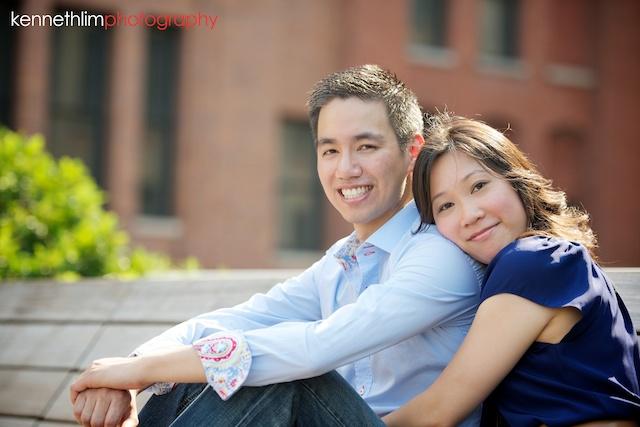 New York engagement photoshoot leaning towards fiancee