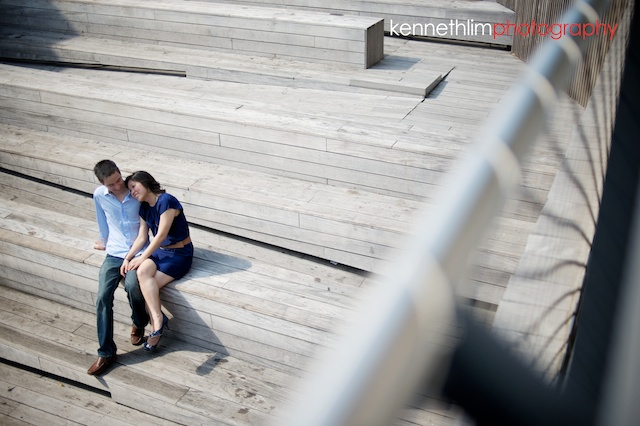 New York engagement photoshoot overhead couple sitting