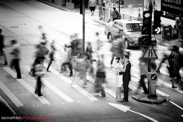 HK engagement wedding photoshoot timelapse blur street black white