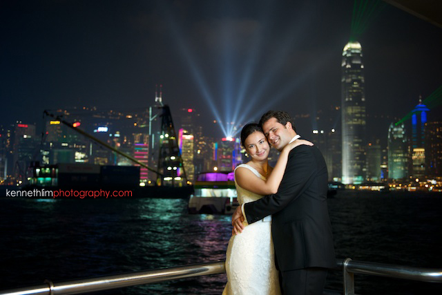 Hong Kong wedding engagement photoshoot victoria harbour couple light show ifc