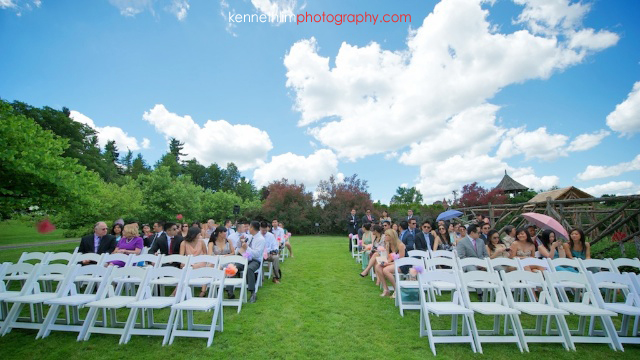 New York wedding outdoor ceremony guests scenery