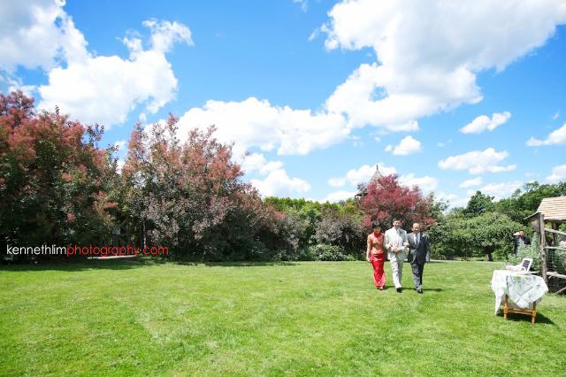 New York wedding outdoor ceremony groom parents walkon