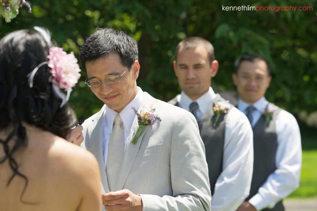 New York wedding outdoor ceremony groom giving vow exchange