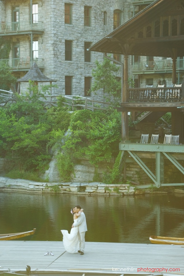 New York wedding outdoor couple portrait session dock pier kiss