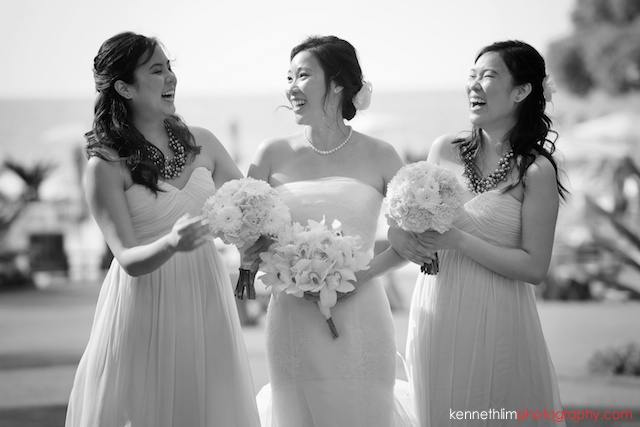 Kona Hawaii US Wedding outdoor bride bridesmaids portrait session black and white