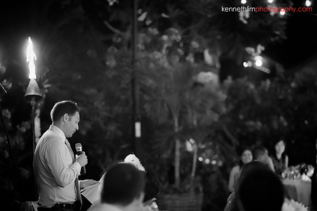 Kona Hawaii US Wedding outdoor dinner best man speech black and white