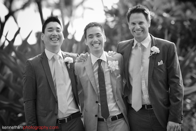 Kona Hawaii US Wedding outdoor groom groomsman portrait session black and white