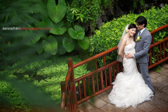 Hong Kong The Verandah outdoor wedding bride groom hugging in park