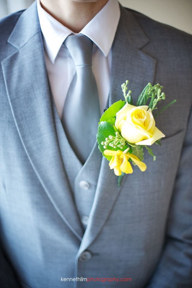 Hong Kong The Verandah wedding groom boutonniere