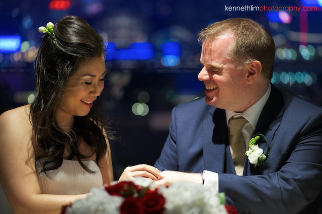 Hong Kong The Peninsula wedding bride and groom ring exchange