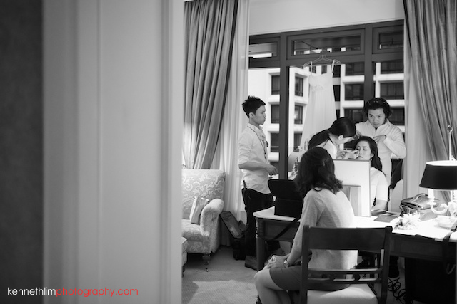Hong Kong The Peninsula wedding bride getting ready hair make up
