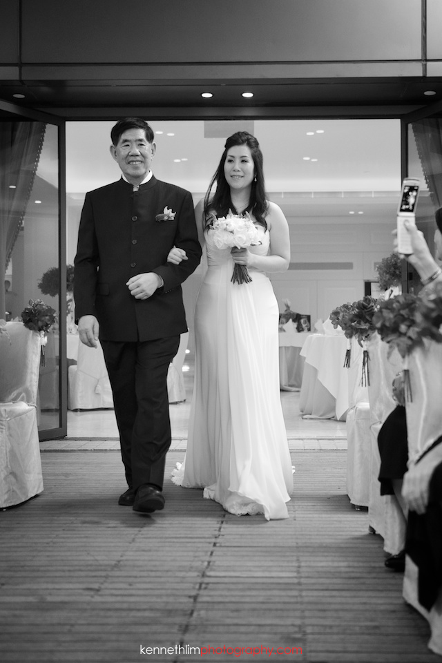 Hong Kong The Peninsula wedding father of bride walking bride down aisle
