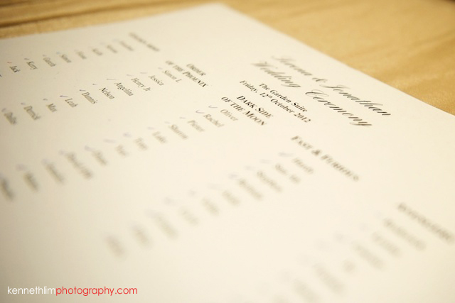 Hong Kong The Peninsula wedding guest list table plan