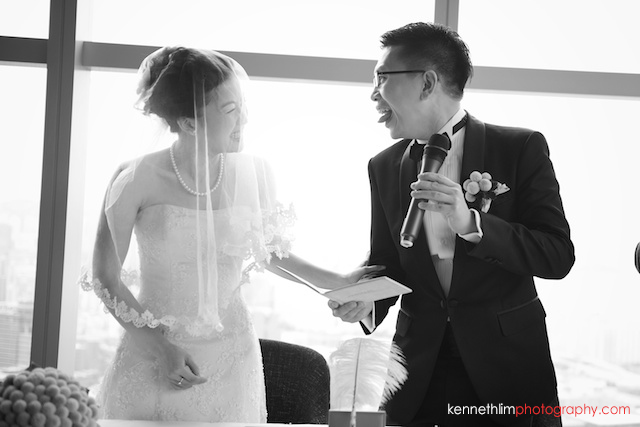 Hong Kong Wooloomooloo Prime wedding groom making face at bride smiling together