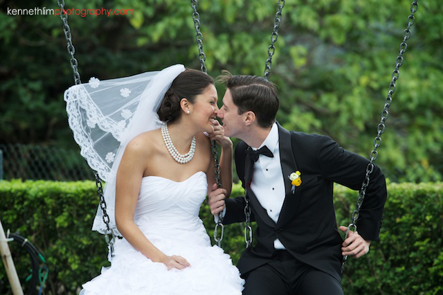 Hong Kong Country Club wedding bride groom portrait session swinging kissing