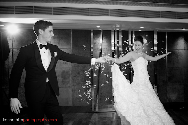 Hong Kong Country Club wedding dinner bride groom dancing laughing