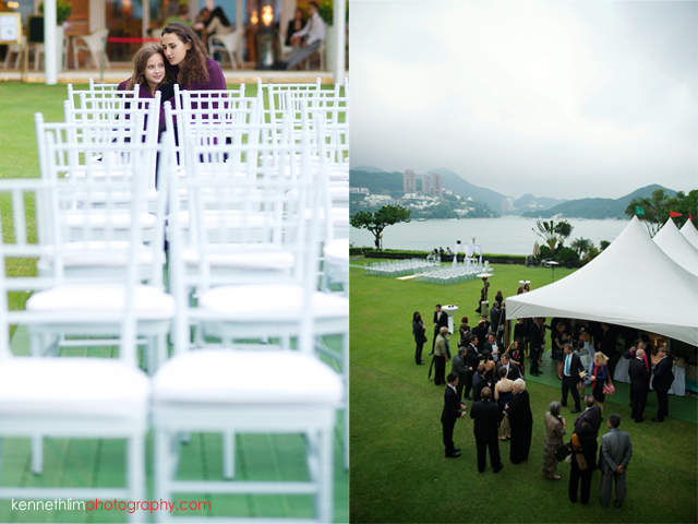 Hong Kong Country Club wedding guests mingling after ceremony