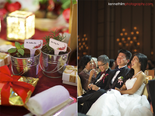 Hong Kong wedding Four Seasons banquet bride and groom personal gifts and laughing together
